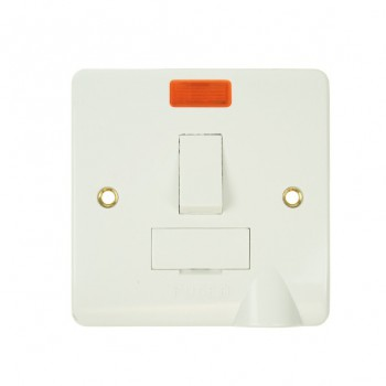 Click Mode White PVC Switched Fused Spur with Flex Outlet and Neon