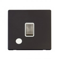 Click Definity Flat Plate Screwless 20A DP Ingot Switch with Flex Outlet, Polar White Insert with Brushed Steel Switch with Black Cover Plate