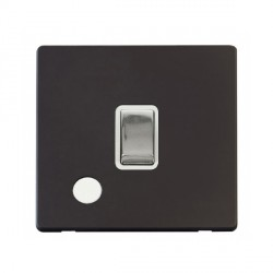 Click Definity Flat Plate Screwless 20A DP Ingot Switch with Flex Outlet, Polar White Insert with Polished Chrome Switch with Black Cover Plate