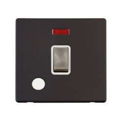 Click Definity Flat Plate Screwless 20A DP Ingot Switch with Flex Outlet and Neon, Polar White Insert with Brushed Steel Switch with Black Cover Plate