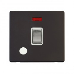 Click Definity Flat Plate Screwless 20A DP Ingot Switch with Flex Outlet and Neon, Polar White Insert, Polished Chrome Switch and Black Cover Plate