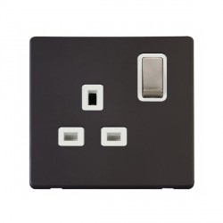 Click Definity Flat Plate Screwless UK 1 Gang 13A Ingot Switched Socket, Polar White Insert with Brushed Steel Switch with Black Cover Plate
