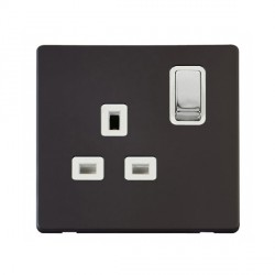 Click Definity Flat Plate Screwless UK 1 Gang 13A Ingot Switched Socket, Polar White Insert with Polished Chrome Switch with Black Cover Plate