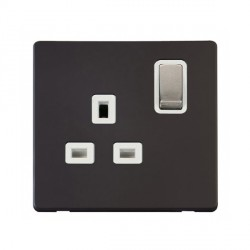 Click Definity Flat Plate Screwless UK 1 Gang 13A Ingot Switched Socket, Polar White Insert with Stainless Steel Switch with Black Cover Plate