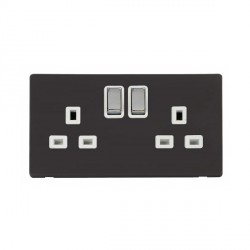 Click Definity Flat Plate Screwless UK 2 Gang 13A Ingot Switched Socket, Polar White Insert with Polished Chrome Switch with Black Cover Plate