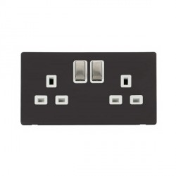 Click Definity Flat Plate Screwless UK 2 Gang 13A Ingot Switched Socket, Polar White Insert with Stainless Steel Switch with Black Cover Plate