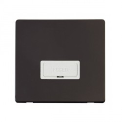 Click Definity Flat Plate Screwless 13A Polar White Fused FCU with Black Cover Plate