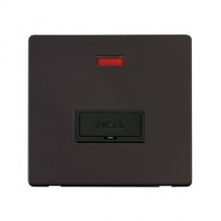 Click Definity Flat Plate Screwless 13A Black Fused FCU with Neon with Black Cover Plate