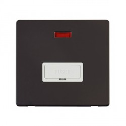 Click Definity Flat Plate Screwless 13A Polar White Fused FCU with Neon with Black Cover Plate