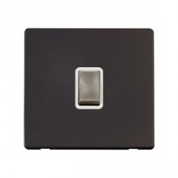 Click Definity Flat Plate Screwless 20A DP Ingot Switch, Polar While Insert with Brushed Steel Switch with Black Cover Plate