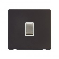 Click Definity Flat Plate Screwless 20A DP Ingot Switch, Polar While Insert with Stainless Steel Switch with Black Cover Plate