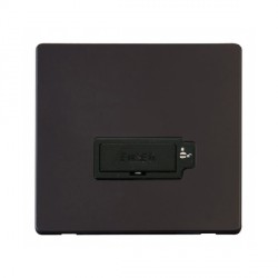 Click Definity Flat Plate Screwless Lockable 13A Black Fused Connection Unit with Black Cover Plate