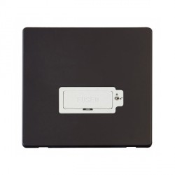 Click Definity Flat Plate Screwless Lockable 13A Polar White Fused Connection Unit with Black Cover Plate