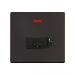 Click Definity Flat Plate Screwless Lockable 13A Black Fused Connection Unit with Neon with Black Cover Plate