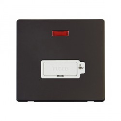 Click Definity Flat Plate Screwless Lockable 13A Polar White Fused Connection Unit with Neon with Black Cover Plate