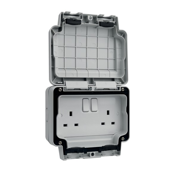 Hager Sollysta 13a 2 Gang Double Pole Switched Ip66 Socket At Uk Electrical Supplies