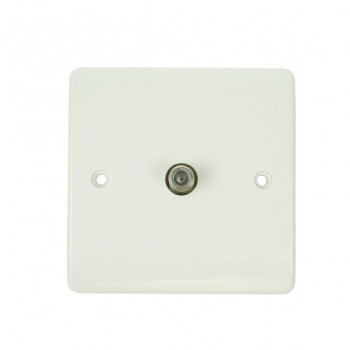 Click Mode Single White PVC Satellite Socket