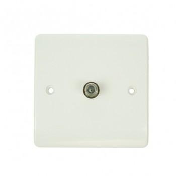 Click Mode Single White PVC Satellite Socket
