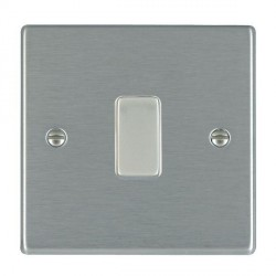 Hamilton Hartland Systems Controller Satin Steel 1 Gang Retractive Rocker Switch with White Insert