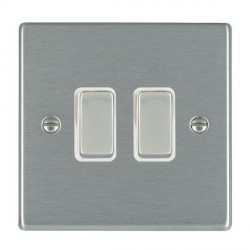 Hamilton Hartland Systems Controller Satin Steel 2 Gang Retractive Rocker Switch with White Insert