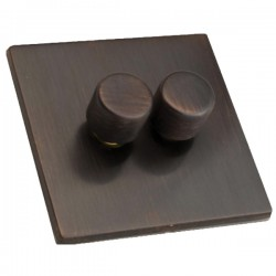 Hamilton Hartland CFX Etrium Bronze 2 gang 250W/210VA Multi-Way Trailing Edge Push On/Off Dimmer