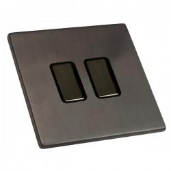 Hamilton Hartland CFX Etrium Bronze 2 gang 250W/210VA Multi-Way Touch Master Trailing Edge Dimmer, Black Nickel Insert and Black Surround