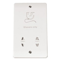 Click Mode White PVC Dual Voltage Shaver Socket