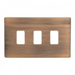 Hamilton Sheer CFX Copper Bronze 3 Gang Grid Fix Aperture Plate with Grid