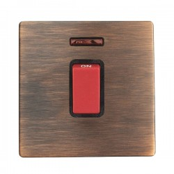 Hamilton Sheer CFX Copper Bronze 1 gang 45A Double Pole Rocker and Neon with Black/Red Insert with Black Surround