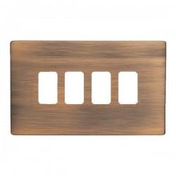 Hamilton Sheer CFX Copper Bronze 4 Gang Grid Fix Aperture Plate with Grid
