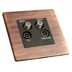Hamilton Sheer CFX Copper Bronze Non-Isolated TV+FM+SAT1+SAT2 Quadplexer 2in/4out with Black Insert
