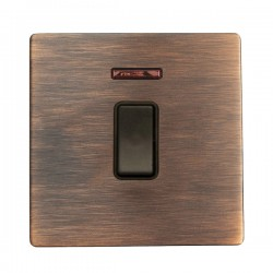 Hamilton Sheer CFX Copper Bronze 1 gang 20AX Double Pole Rocker and Neon with Copper Bronze Insert with Black Surround