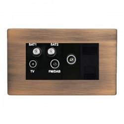 Hamilton Sheer CFX Copper Bronze Non-Isolated TV+FM+SAT1+SAT2 Quadplexer 2in/4out +TVF+TCS with Black Insert
