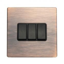 Hamilton Sheer CFX Copper Bronze 3 gang 10AX 2 Way Rocker with Copper Bronze Insert with Black Surround