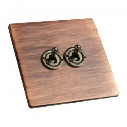 Hamilton Sheer CFX Copper Bronze 2 gang 20AX 2 Way Toggle with Black Nickel Insert