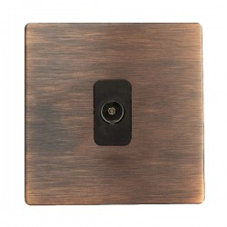 Hamilton Sheer CFX Copper Bronze 1 gang Non-Isolated Television 1in/1out with Black Insert