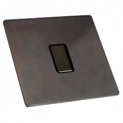 Hamilton Sheer CFX Etrium Bronze 1 gang 250W/210VA Multi-Way Touch Master Trailing Edge Dimmer, Black Nic...
