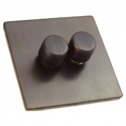 Hamilton Sheer CFX Etrium Bronze 2 gang 400W 2 Way Leading Edge Push On/Off Resistive Dimmer