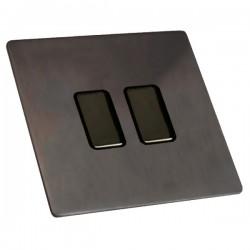 Hamilton Sheer CFX Etrium Bronze 2 gang 250W/210VA Multi-Way Touch Master Trailing Edge Dimmer, Black Nic...