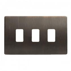 Hamilton Sheer CFX Etrium Bronze 3 Gang Grid Fix Aperture Plate with Grid