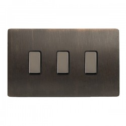 Hamilton Sheer CFX Etrium Bronze 3 gang Multi-Way Touch Slave Controller Trailing Edge with Black Nickel ...