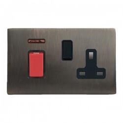 Hamilton Sheer CFX Etrium Bronze 45A Double Pole Rocker with Neon and 13A Switched Socket, Etrium Bronze/...