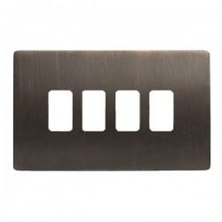 Hamilton Sheer CFX Etrium Bronze 4 Gang Grid Fix Aperture Plate with Grid