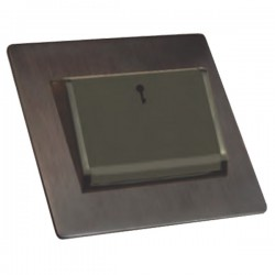 Hamilton Sheer CFX Etrium Bronze 1 gang 10A (6AX) Card Switch On/Off with Blue LED Locator with Black Surround