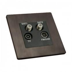 Hamilton Sheer CFX Etrium Bronze Non-Isolated TV+FM+SAT1+SAT2 Quadplexer 2in/4out with Black Insert