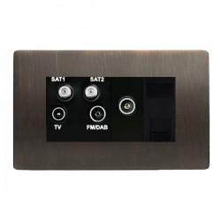 Hamilton Sheer CFX Etrium Bronze Non-Isolated TV+FM+SAT1+SAT2 Quadplexer 2in/4out +TVF+TCS with Black Insert