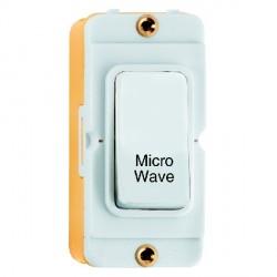 Hamilton Grid Fix Insert Rocker Double Pole 20AX 'Micro Wave' White/White with White Insert