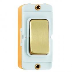 Hamilton Grid Fix Insert Rocker Double Pole 20AX Satin Brass/White with White Insert