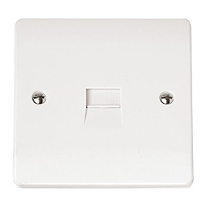 Click Mode Single Secondary White PVC Telephone Outlet