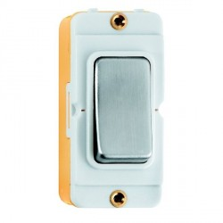 Hamilton Grid Fix Insert Rocker Double Pole 20AX Satin Steel/White with White Insert